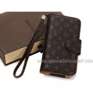 Louis Vuitton Housses et Étuis en cuir Pour Apple iPhone 5 Brun